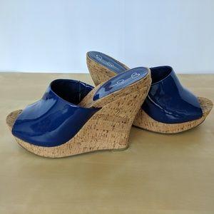 Jessica Simpson Blue Patent Wedge Sandals